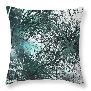 Throw Pillow featuring the painting Dandelion Overwhelm - Turquoise And Gray Modern Art by Lourry Legarde