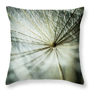 Dandelion Petals Throw Pillow by Iris Greenwell