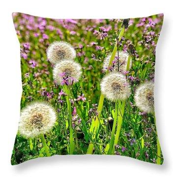 Dandelion Puffs Throw Pillow