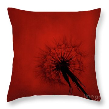 Dandelion Silhouette On Red Textured Background Throw Pillow