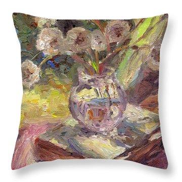 Dandelions Flowers In A Vase Sunny Still Life Painting Throw Pillow by Svetlana Novikova
