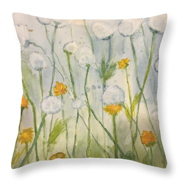 Dandelions Throw Pillow by Lucia Grilletto