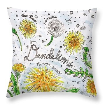 Throw Pillow featuring the painting Dandelions by Monique Faella