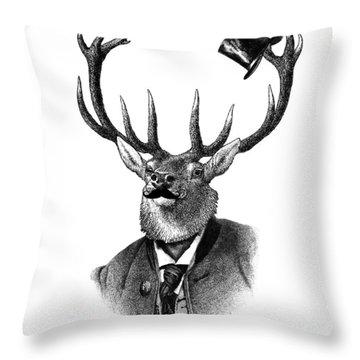 Dandy Deer Portrait Throw Pillow
