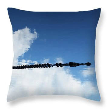 Throw Pillow featuring the photograph Dangerous Reflection Saltwater Crocodile 2 by Gary Crockett