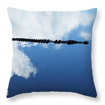 Throw Pillow featuring the photograph Dangerous Reflection Saltwater Crocodile by Gary Crockett