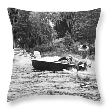 Dangerous Water Skiing Throw Pillow