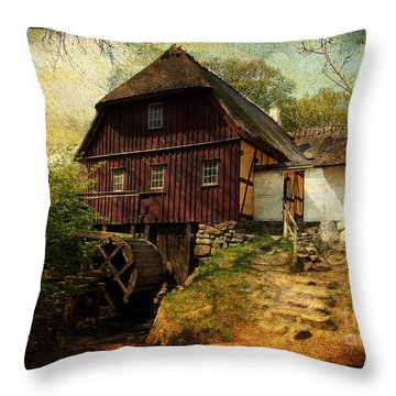 Danish Watermill Anno 1600 Throw Pillow