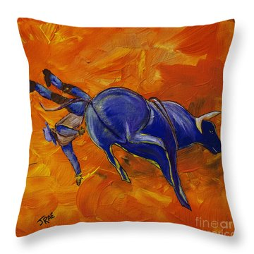 Throw Pillow featuring the painting Danny At The Rodeo by Janice Rae Pariza