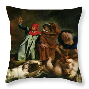 Dante And Virgil In The Underworld Throw Pillow by Ferdinand Victor Eugene Delacroix