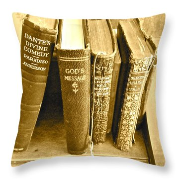 Dante God And Shakespeare ... Throw Pillow by Gwyn Newcombe