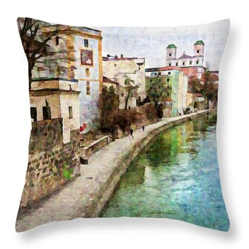 Danube River At Passau, Germany Throw Pillow