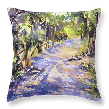 Dappled Morning Walk Throw Pillow