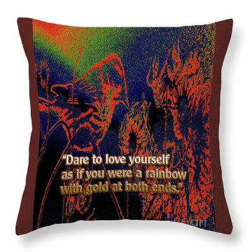 Dare To Love Yourself On National Selfie Day Throw Pillow by Aberjhani