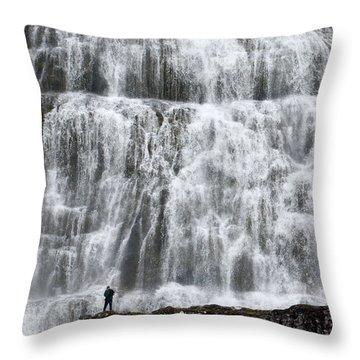 Throw Pillow featuring the photograph Dynjandi Daredevil by Joe Bonita