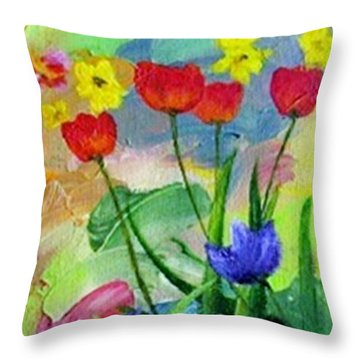 Throw Pillow featuring the painting Daria's Flowers by Jamie Frier