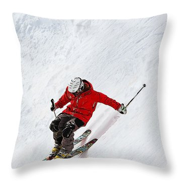 Daring Skier Flying Down A Steep Slope Throw Pillow