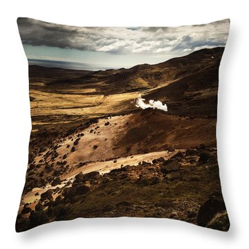 Dark And Steaming Iceland Throw Pillow