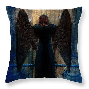 Dark Angel At Church Doors Throw Pillow