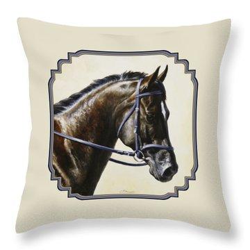 Dark Bay Dressage Horse Phone Case Throw Pillow