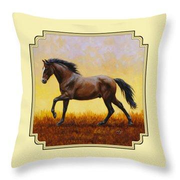 Dark Bay Running Horse Yellow Throw Pillow