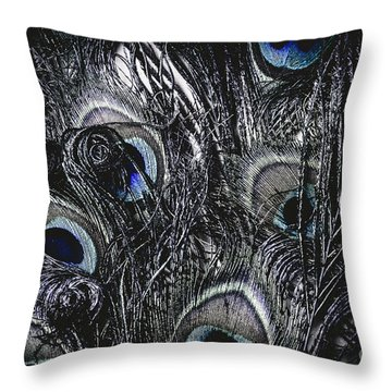 Dark Blue Peacock Feathers  Throw Pillow