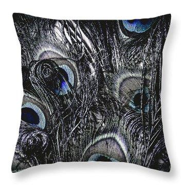 Dark Blue Peacock Feathers  Throw Pillow