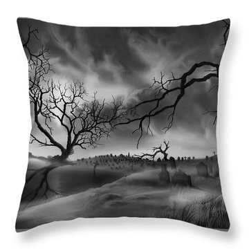 Dark Cemetary Throw Pillow by James Christopher Hill