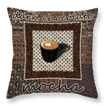 Throw Pillow featuring the photograph Dark Chocolate Mocha - Coffee Art by Anastasiya Malakhova
