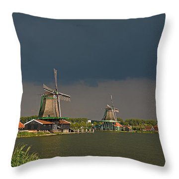 Dark Clouds Above Zaanse Schans Throw Pillow