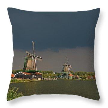 Dark Clouds Above Zaanse Schans Throw Pillow