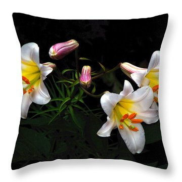 Throw Pillow featuring the photograph Dark Day Bright Lilies by Byron Varvarigos
