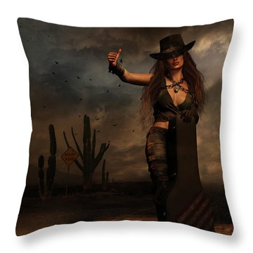 Throw Pillow featuring the digital art Dark Desert Highway by Shanina Conway
