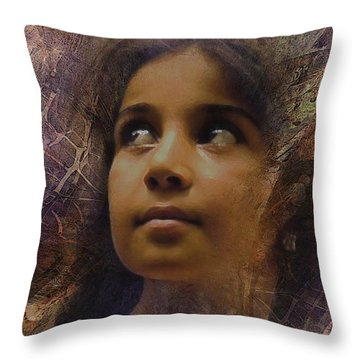 Throw Pillow featuring the digital art Dark Eyed Beauty by Kate Word