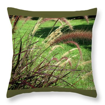 Dark Feather Grass Throw Pillow by Michele Wilson