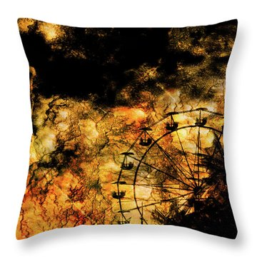 Dark Ferris Wheel Throw Pillow by Don Gradner