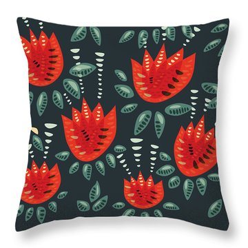 Dark Floral Pattern Of Abstract Red Tulips Throw Pillow