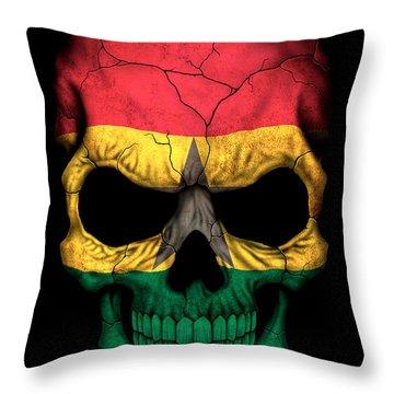 Dark Ghana Flag Skull Throw Pillow