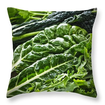 Dark Green Leafy Vegetables Throw Pillow by Elena Elisseeva