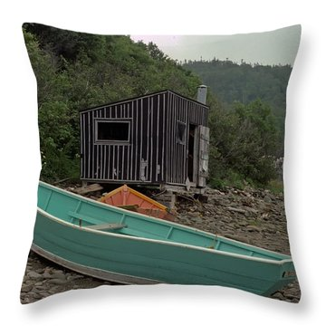 Dark Harbour Fisherman Shack And Boat Throw Pillow