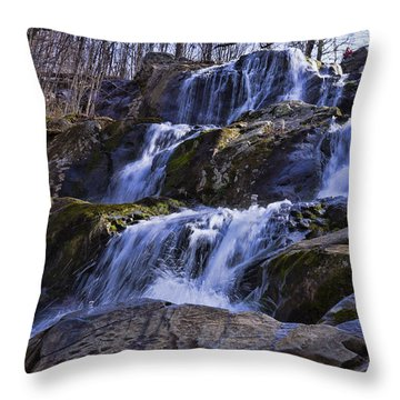 Throw Pillow featuring the photograph Dark Hollow Falls by B Wayne Mullins
