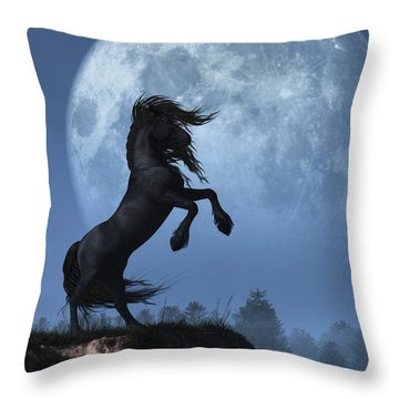 Dark Horse And Full Moon Throw Pillow by Daniel Eskridge