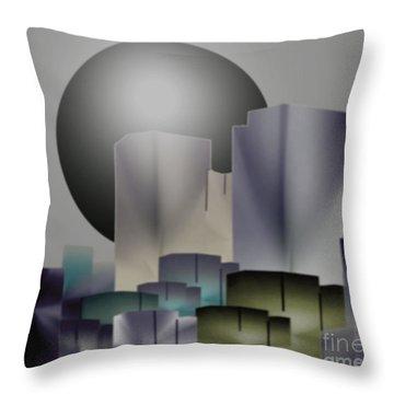 Throw Pillow featuring the digital art Dark Moon Over The City by John Krakora
