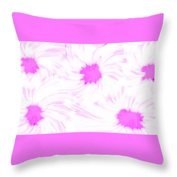 'dark Pink And White Flower Abstract' Throw Pillow