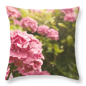 Dark Pink Hydrangea Throw Pillow