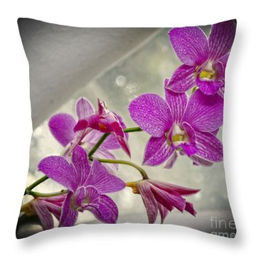 Dark Pink Orchids All In A Row Throw Pillow