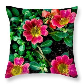 Dark Pink Purselane Flowers Throw Pillow