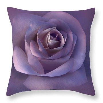 Dark Plum Rose Flower Throw Pillow by Jennie Marie Schell
