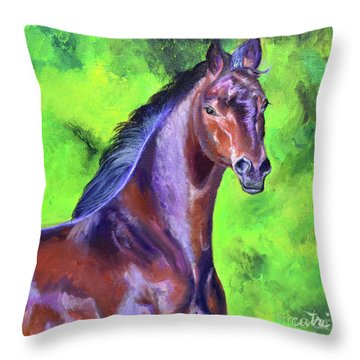 Dark Red Bay Horse Throw Pillow