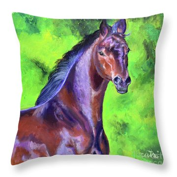 Dark Red Bay Horse Throw Pillow